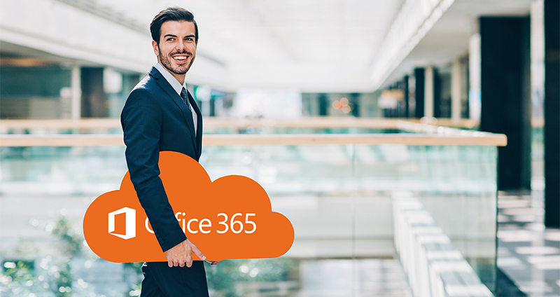 Cheerhul businessman holding a big blue cloud walking in a modern office building, with copy space